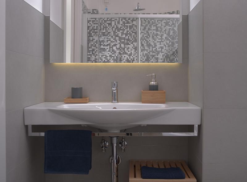 Il bagno della camera matrimoniale con angolo cottura di VivereNumana